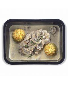 Parelhoenfilet met Crème van Gekweekte Champignons en Puree