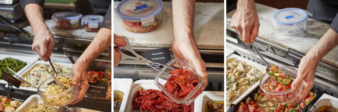 Nos produits frais directement dans vos boîtes réutilisables