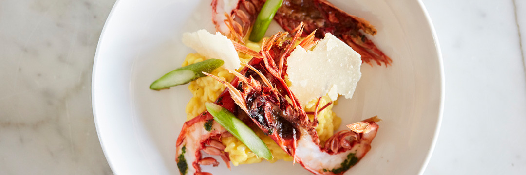Gambero rosso et risotto au safran de Cotchia